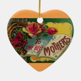 Ornamento del regalo del vintage del día de madre adorno navideño de cerámica en forma de corazón