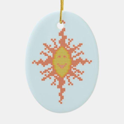 Ornamento del resplandor solar adorno navideño ovalado de cerámica