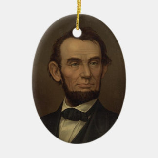 Ornamento del retrato de Abe Lincoln Adorno Ovalado De Cerámica