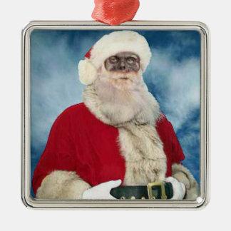 Ornamento del retrato de Santa del zombi Adorno Cuadrado Plateado