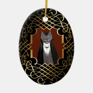Ornamento del retrato del gatito del vampiro adorno navideño ovalado de cerámica