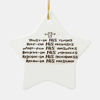 Ornamento del rezo de la confianza adorno navideño de cerámica en forma de estrella