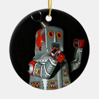 Ornamento del robot de la lata adorno navideño redondo de cerámica