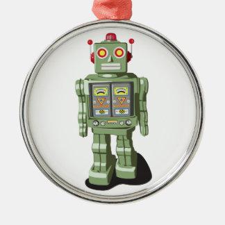 Ornamento del robot del juguete adorno navideño redondo de metal
