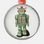 Ornamento del robot del juguete adorno redondo plateado