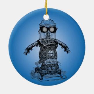 Ornamento del robot uno de Steampunk por Adorno Navideño Redondo De Cerámica