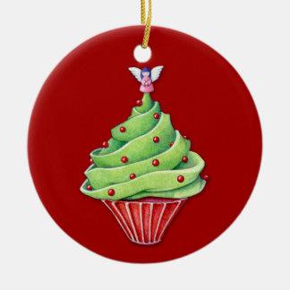 Ornamento del rojo de la magdalena del árbol de adorno navideño redondo de cerámica