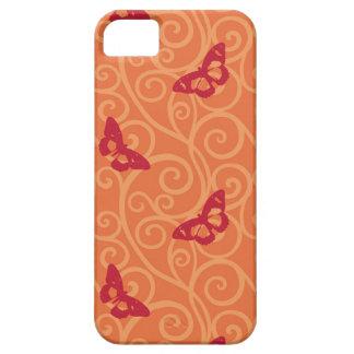 Ornamento del rojo de las mariposas iPhone 5 Case-Mate funda
