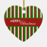 Ornamento del rojo de las rayas del navidad ornamentos de navidad