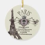 Ornamento del romance de París del vintage… Adorno De Reyes
