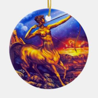 Ornamento del sagitario adorno navideño redondo de cerámica