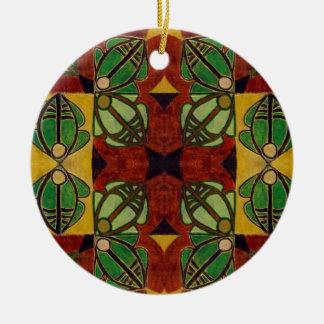 "Ornamento del ""salto"" (pintura) adorno navideño redondo de cerámica"