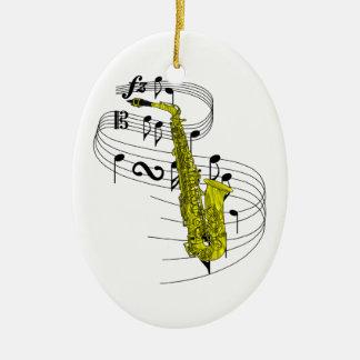 Ornamento del saxofón adorno navideño ovalado de cerámica