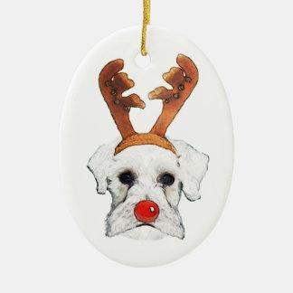 Ornamento del Schnauzer del reno Ornamento Para Arbol De Navidad