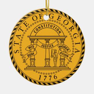 Ornamento del sello del estado de Georgia* Adorno Navideño Redondo De Cerámica