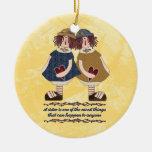 Ornamento del sentimiento de la hermana adorno navideño redondo de cerámica