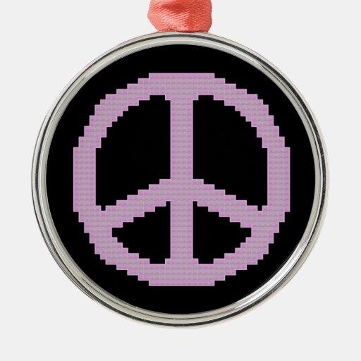 Ornamento del signo de la paz adorno navideño redondo de metal