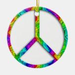 Ornamento del signo de la paz del arco iris adornos de navidad