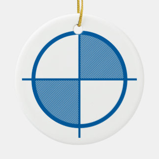 Ornamento del símbolo de la elevación (azul) adorno navideño redondo de cerámica
