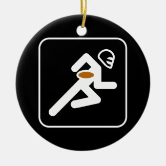 Ornamento del símbolo del fútbol adorno navideño redondo de cerámica