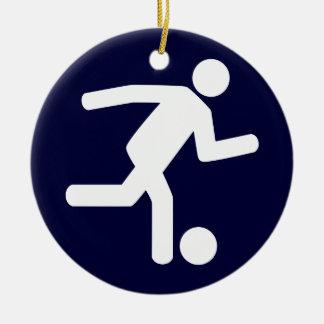 Ornamento del símbolo del fútbol del fútbol adorno navideño redondo de cerámica