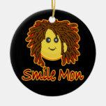 Ornamento del smiley de Rasta del fuego de lunes d Ornamento Para Arbol De Navidad