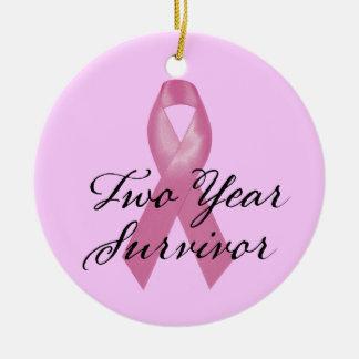 Ornamento del superviviente del cáncer de pecho de adorno navideño redondo de cerámica