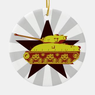 Ornamento del tanque (starburst) adorno navideño redondo de cerámica