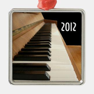 Ornamento del teclado de piano adorno navideño cuadrado de metal