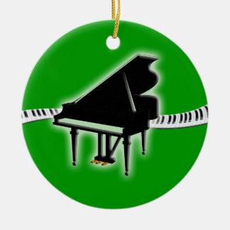 Ornamento del teclado de piano de cola adorno navideño redondo de cerámica
