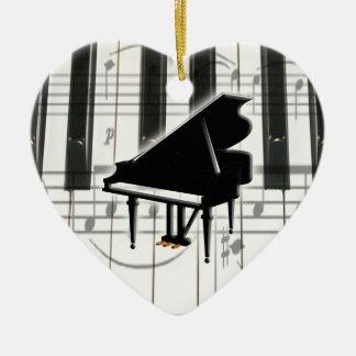 Ornamento del teclado de piano del corazón adorno navideño de cerámica en forma de corazón