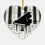 Ornamento del teclado de piano del corazón adorno de navidad