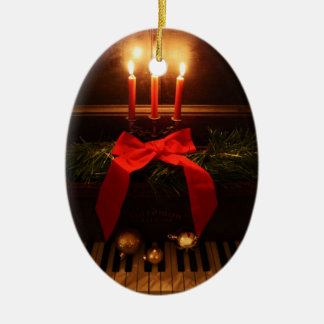 Ornamento del teclado de piano y de Navidad del Adorno Navideño Ovalado De Cerámica