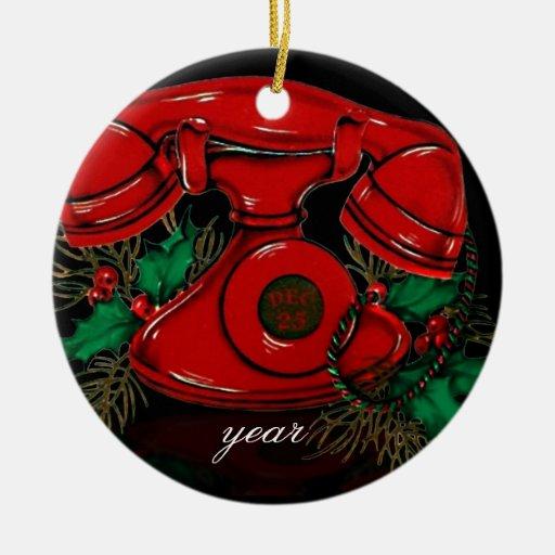 Ornamento del teléfono del navidad del vintage ornato
