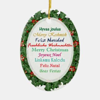 Ornamento del texto de las Felices Navidad de las Adorno Navideño Ovalado De Cerámica
