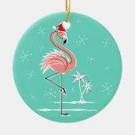 Ornamento del texto del flamenco del navidad adorno navideño redondo de cerámica