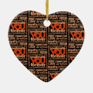 Ornamento del texto del Soulmate Adorno Navideño De Cerámica En Forma De Corazón