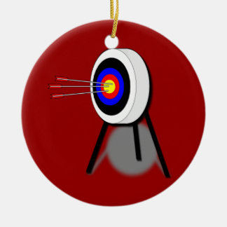 Ornamento del tiro al arco adorno navideño redondo de cerámica