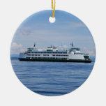 Ornamento del transbordador del estado de adorno navideño redondo de cerámica