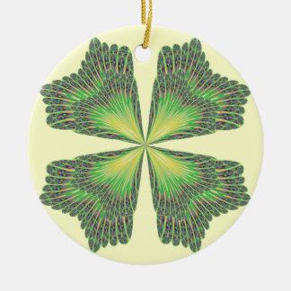 Ornamento del trébol de cuatro hojas adorno navideño redondo de cerámica