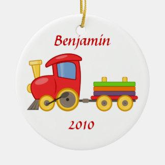 Ornamento del tren del dibujo animado adorno navideño redondo de cerámica