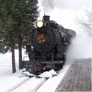 Ornamento del tren del navidad adorno fotoescultura