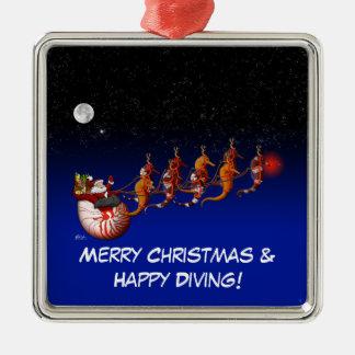 Ornamento del trineo de Santa y del Seahorse Ornamentos De Reyes Magos