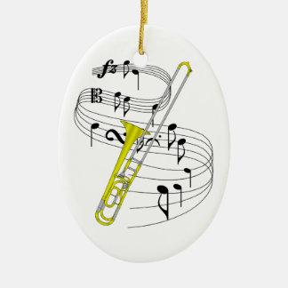 Ornamento del Trombone Adorno Navideño Ovalado De Cerámica