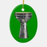 Ornamento del verde del tambor de Dumbek Doumbek Adorno Navideño Ovalado De Cerámica