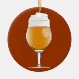 Ornamento del vidrio de cerveza adorno navideño redondo de cerámica
