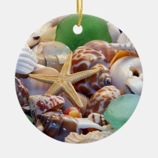 Ornamento del vidrio de los Seashells, de las estr Adorno De Navidad
