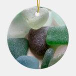 Ornamento del vidrio del mar azul y verde ornato