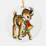 Ornamento del vintage del reno de Santa Adornos De Navidad