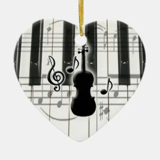 Ornamento del violín del teclado de piano del adorno navideño de cerámica en forma de corazón